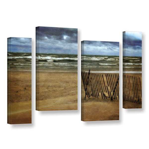 ArtWall Kevin Calkins ' Snow Fence And Waves 4 Piece ' Gallery-Wrapped Canvas Staggered Set - Grey/Blue/Brown