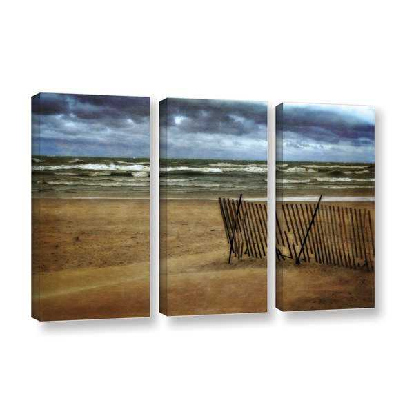 ArtWall Kevin Calkins ' Snow Fence And Waves 3 Piece ' Gallery-Wrapped Canvas Set - Blue/Brown