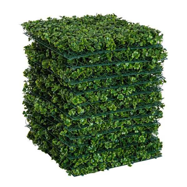 Outsunny 12 Piece 20' x 20' Artificial Boxwood Hedge Mat Panels Outdoor Patio - Clover